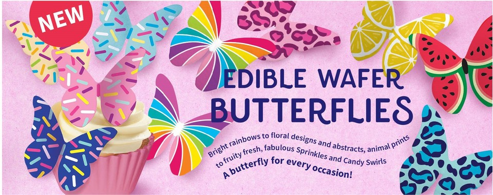 Edible Wafer Butterflies NEW from Squires Kitchen