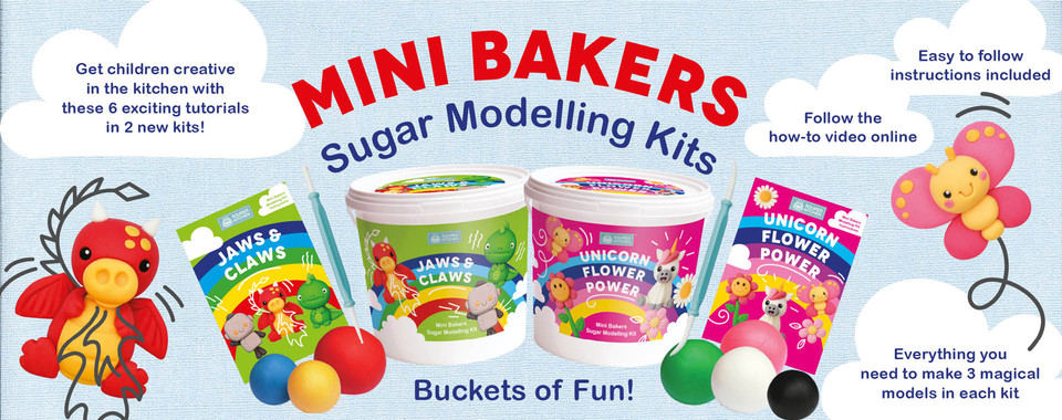 These children's sugar modelling kits are buckets of fun! Download your special code to access a fun video for you to model along with.