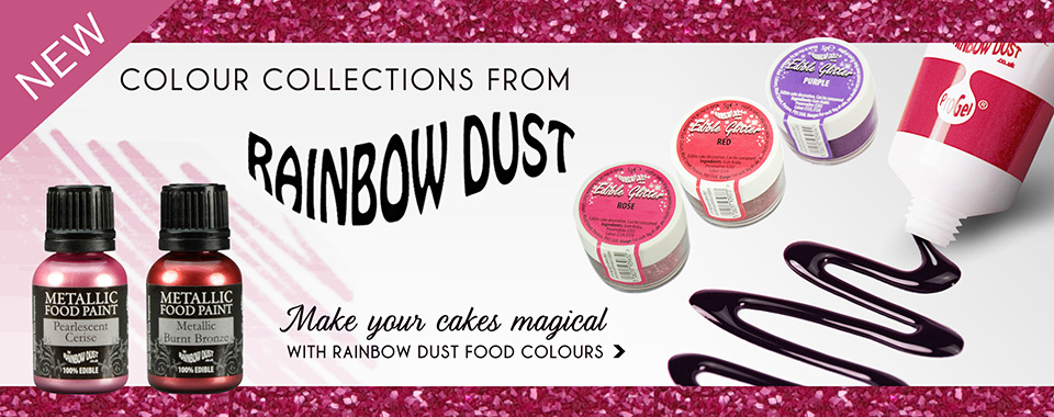 New Rainbow Dust cake decorating food colours and glitters available to buy today.